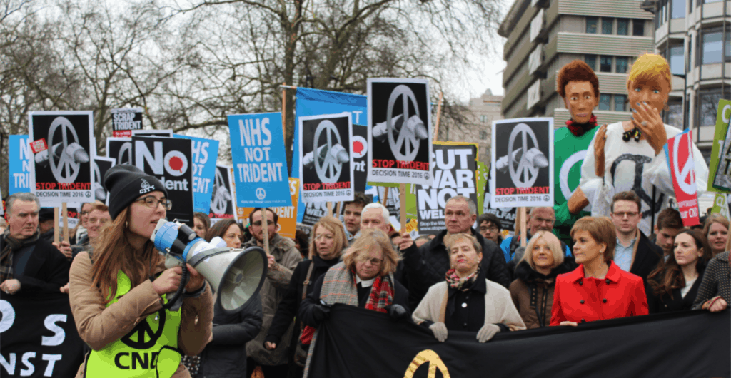 Anti-trident protestors led by Scottish first minister Nicola Sturgeon and CND General Secretary Kate Hudson